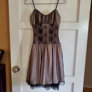 Black Lace & Nude Dress